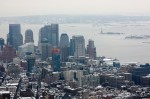 Downtown Manhattan view from the observation deck of the Empire State Building