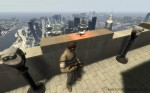 Niko with a pigeon at the observation deck of the Empire State Building, GTA4 screenshot