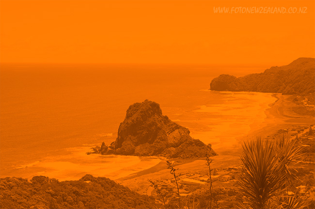 Sand storm at Piha Beach New Zealand