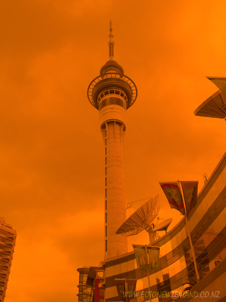 Sand storm, Sky Tower, Auckland, New Zealand